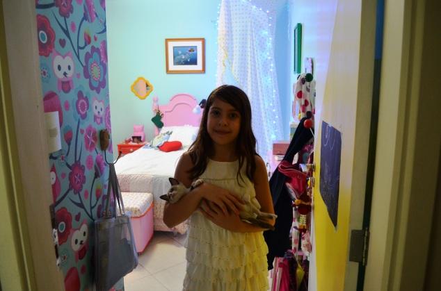 Esta é a Cleópatra e ela vai mostrar como ficou o quarto dela...