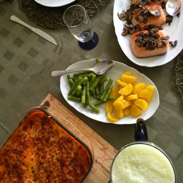 Ou no almoço que o maridex fez pro Dia das Mães...